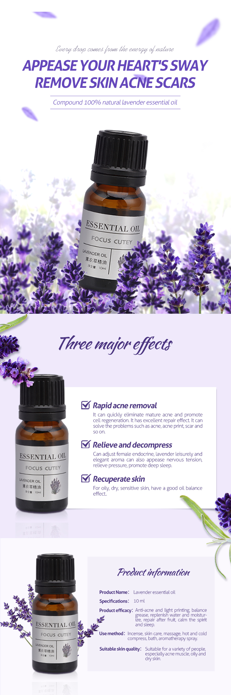 100% Pure lavender essential oil, aromatherapy  organic lavender essential oil beauty oil