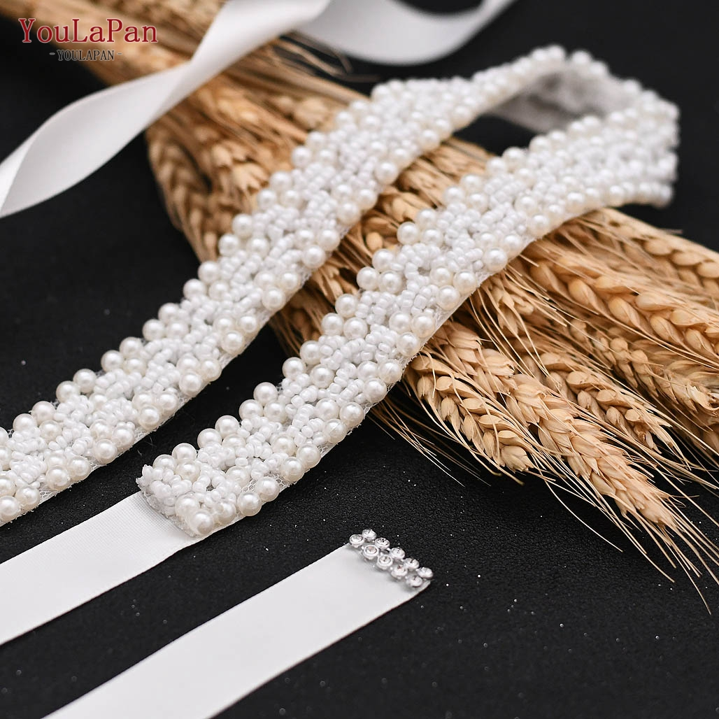 YouLaPan S204 Simple and Generous White Pure Beading Pearl Bridal Belt, Wedding Sashes Pearl Belt for Bridal