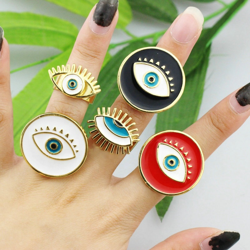 CH-CKR0024 Hot sell enamel jewelry ring,white/black/red enamel plating adjustable ring,fashion beautiful jewelry wholesale