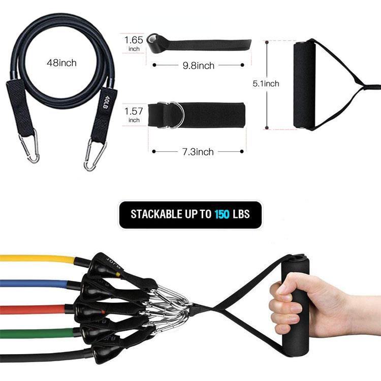 Personalizado Fitness ejercicio tubo 11 unids/set de Bandas Elásticas de resistencia formación Yoga tubos con mosquetón cuerda