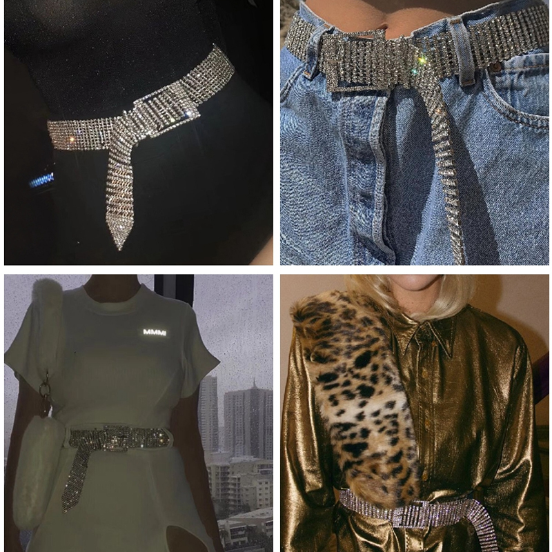 Fashion Girl Crystal Waist Belly Rhinestone Chain Waist Belt Accessories