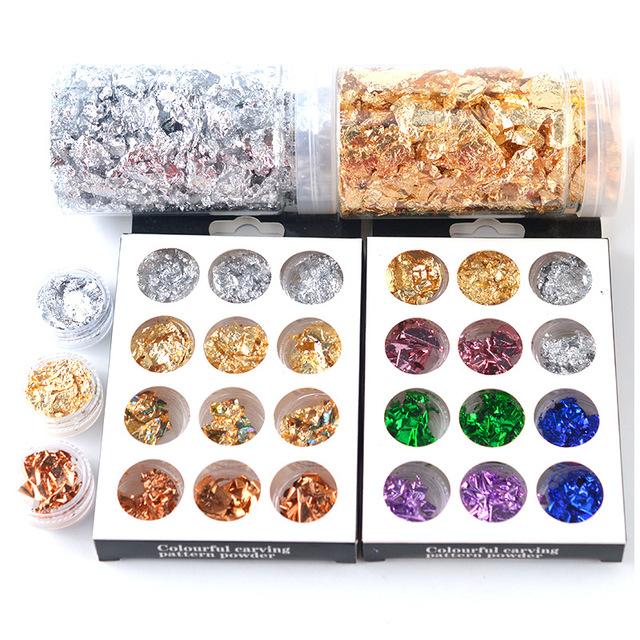 Color Imitation Gold Metallic Foil Flakes for Painting Arts Crafts Nails,DIYs,Furniture Decoration Tree2018 Gold Leaf Gilding Resin Flakes