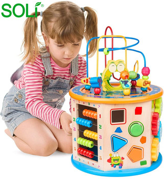 Hot Sale Multi-function Wooden Activity Cube Toys Large Baby Educational Bead Maze Toys for Baby