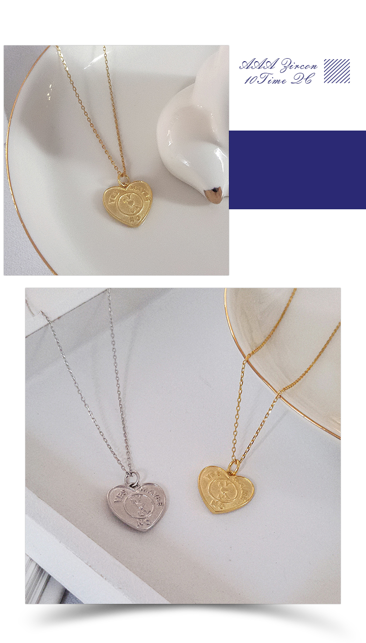 Fashion Love Necklace Jewelry 925 Sterling Silver Heart Shaped Pendant Necklace