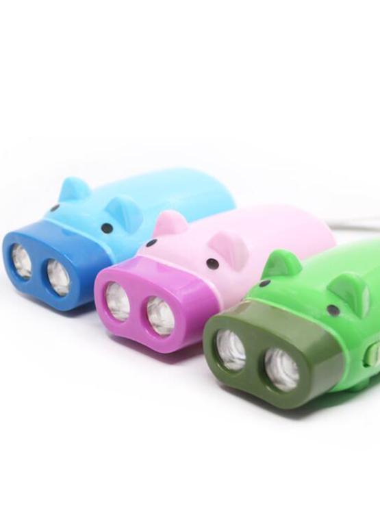 Juguetes de los niños regalo-prensa antorcha 2 LED Manual recargable cerdo Dinamo linterna