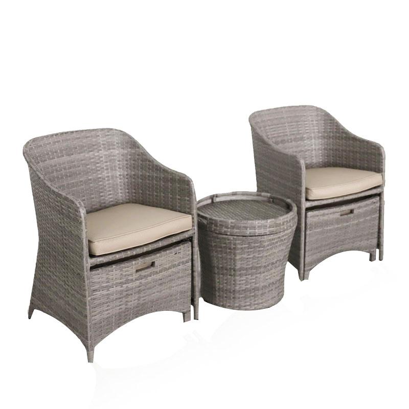 Robusto 5 pc mimbre resina pequeño espacio al aire libre muebles de mimbre PE patio charla con sillón de mesa de café taburete para porche-gris