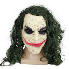 <span class=keywords><strong>Film</strong></span> Batman Le Chevalier Noir <span class=keywords><strong>D</strong></span>'<span class=keywords><strong>horreur</strong></span> Clown Cosplay Masque avec Vert Perruque Cheveux Effrayant Halloween Fête Costume Prop Clown Masque