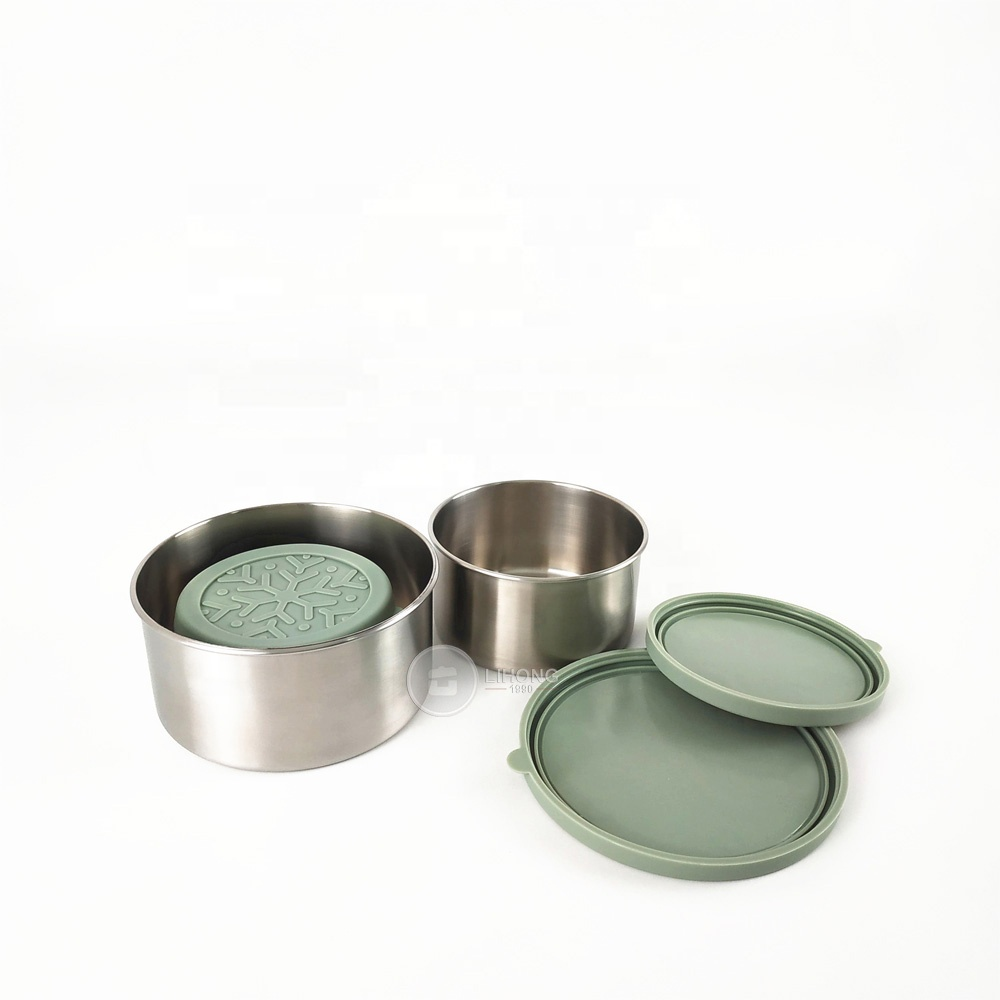 Leak-proof reusable kitchen dipping sauce containers 50ml stainless steel snack containers with food-grade silicone lids