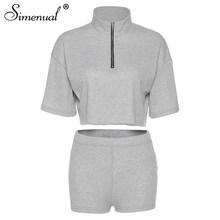 Simenual Повседневное Мода молнии Для женщин в комплекте с набором подходящих сумочек короткий рукав 2020 Лето тренировки, наряд из 2 вещей тонкий...(Китай)
