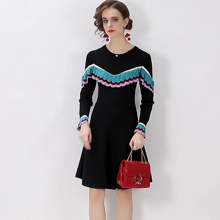 2020 sonbahar kış bayan giyim yeni moda sıcak satış Ruffled gündelik giyim örme elbise
