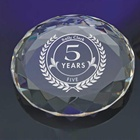 OEM K9 Crystal Glass Paper Weight, 3D Laser Curving Crystal round PaperWeight