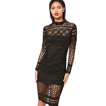 Ladies dress online shopping black high neck lace midi dress