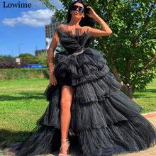 Длинное платье знаменитости, черное платье без бретелек, Тюлевое коктейльное вечернее платье выпускного вечера 2020(Китай)