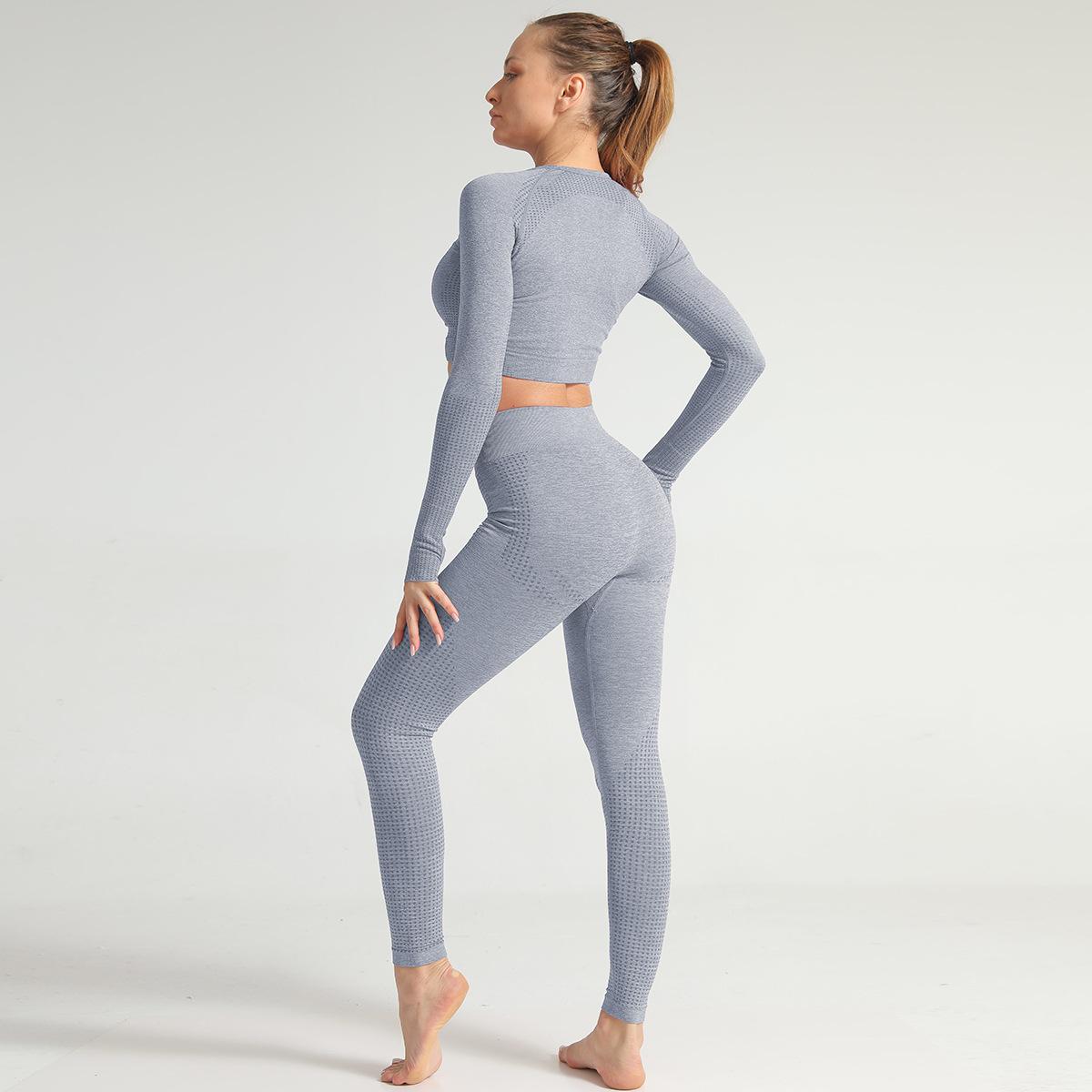 2020 Spring Summer Women Gymwear Seamless Bra Peach Butt Leggings Knitting Yoga Set 5