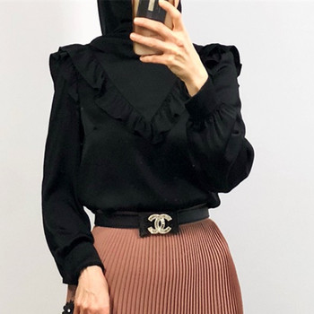 2019 new arrival High quality fashion design soft crepe material black muslim blouseT-shirt for women