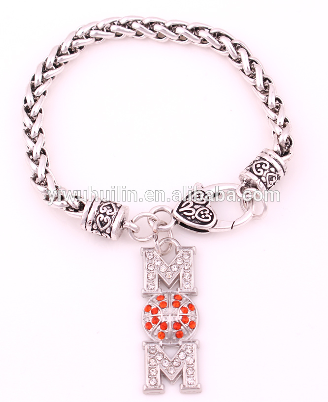 BH071 High Quantity Braided Link Wheat Chain With Fed Up heart crystal Bracelet Women Punk Rock Gift