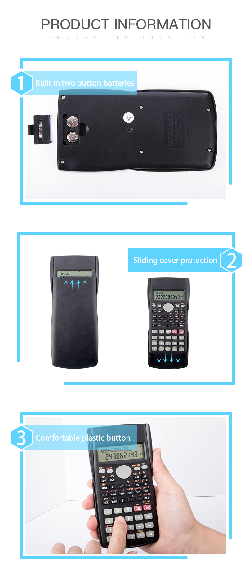 Wholesale Promotional fx 991ms School Exam 240 Functions Plastic Scientific Calculator with Cover