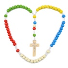 Cheap 5 Colors Wooden Beads Missionary Rosary Cord Knotted Catholic Rope Environmentally