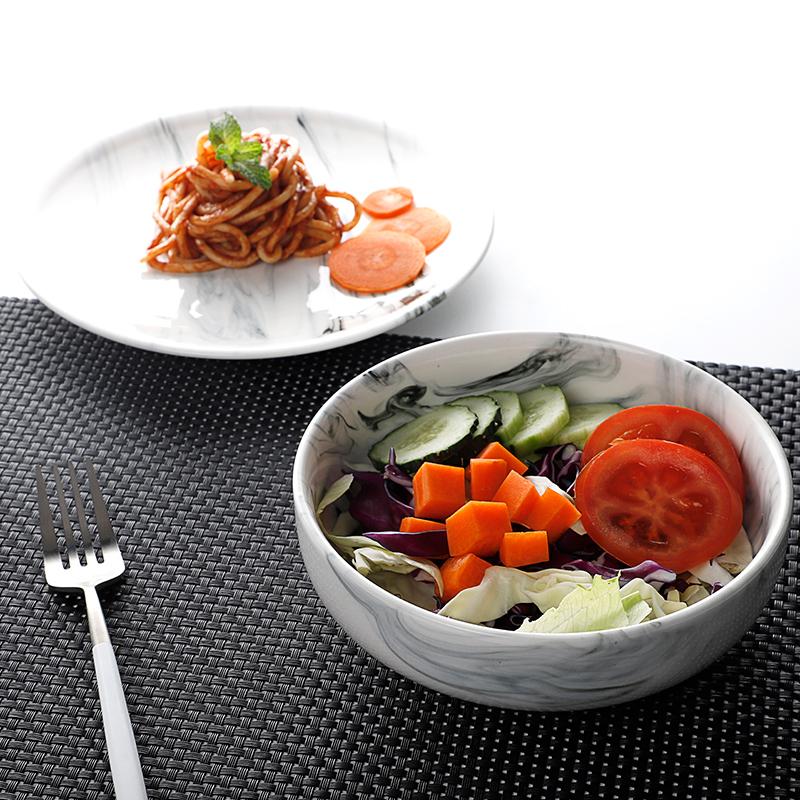 Vajilla proveedor Venta caliente de porcelana única ensalada tazones de restaurante de mármol ensalada