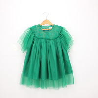2019 green high quality summer children's wear Korean dress gauze girls cotton princess dress
