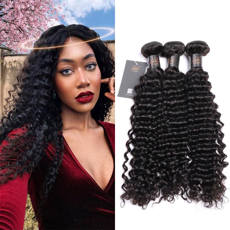 4Bundles Weaves Sunlight Brazilian curly blonder Virgin Hair, Wholesale human hair Bundles deep wave/kinky curly/water wave, N/a