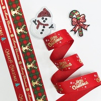Wholesale ribbon DIY Christmas bow Custom Santa Claus Christmas tree Snowman merry christmas logo ribbon