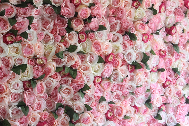 SPR Factory supply new arrival pink baby wall silk flowers artificial wedding party backdrop decoration