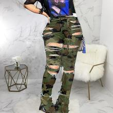 KHS2090 Mode sexy loch hohe taille camouflage flare denim <span class=keywords><strong>jeans</strong></span> plus größe