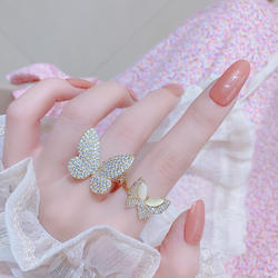Shine Luxury Full Zircon Butterfly Finger Rings Cr