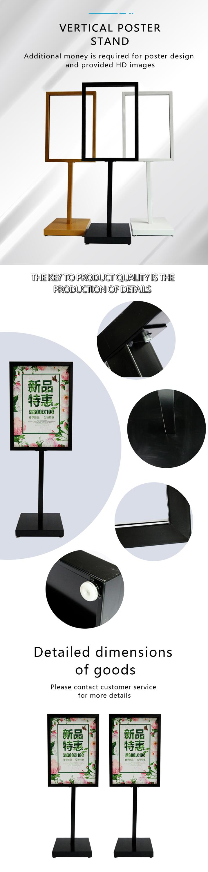 Manufacture outdoor heavy duty exhibition advertising kt board banner 50*70 black metal frame promotion poster display stand