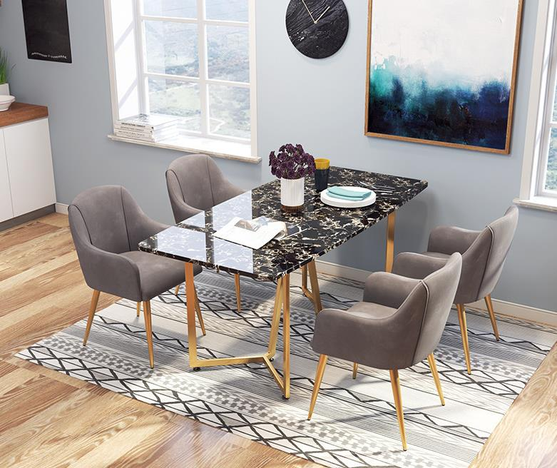 Nordic Modern Simple light luxury Dinning Table Dining Room Hotel Furniture Rectangular Marble Slate Tabletop Dining Table