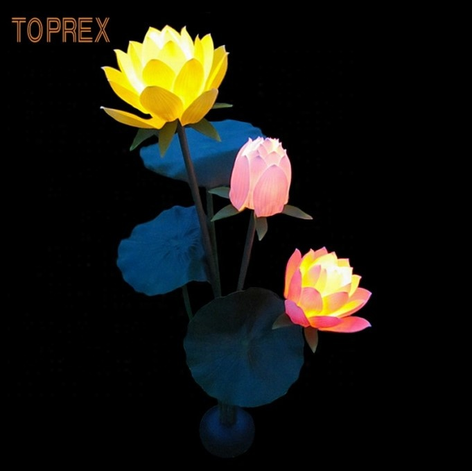 2020 new products event  Garden  decor artificial blue  lotus flowers led lights decorations lotus lamp