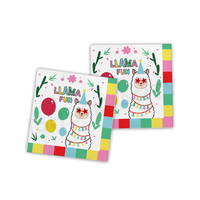 Llama Disposable Sets Christmas Party Birthday Tableware Sets Picnic Paper Tissues Llama Fun Party Supplies
