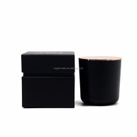 8oz, 10oz,16oz,21 oz paint coated black glass candle jar ,container ,holder with wood lid