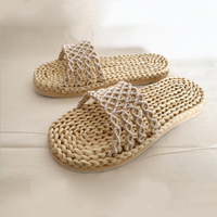 For Indoor Outdoor Oppen Toe Woven Straw Natural Women's Sandals Slipper