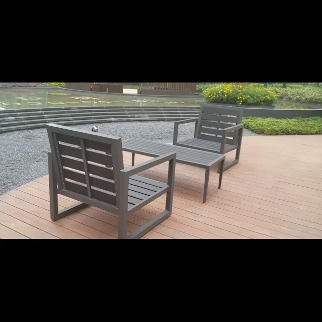 Exterior patio wooden garden table and chairs