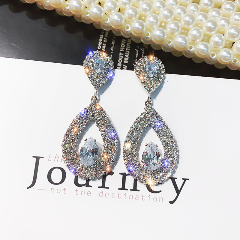 2019 water drop wholesale gold crystal rhinestone earrings for women