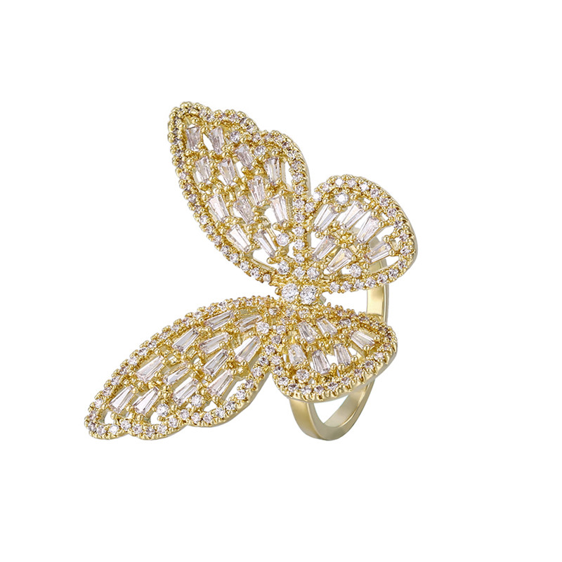 YMR xuping jewelry luxury 14K diamond big gold butterfly finger ring open for ladies