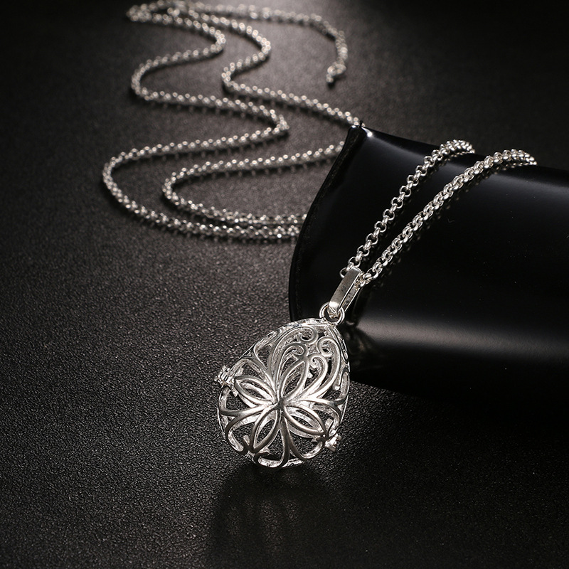 Mexico Pregnancy Chime Music Angel Ball Caller Locket Necklace Hollow Follower Essential Oil Aromatherapy Diffuser Necklace