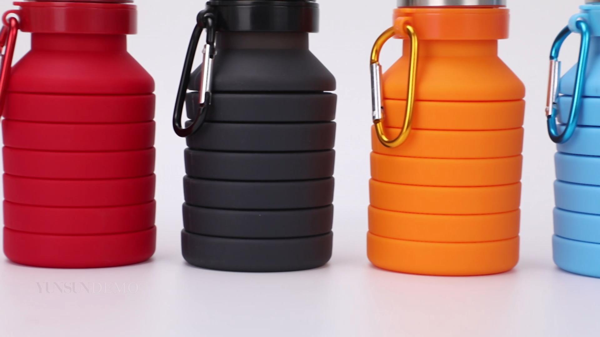 Produk Panas Botol Air Olahraga Luar Ruangan Dilipat Silikon Lipat Air Botol dengan Custom Logo