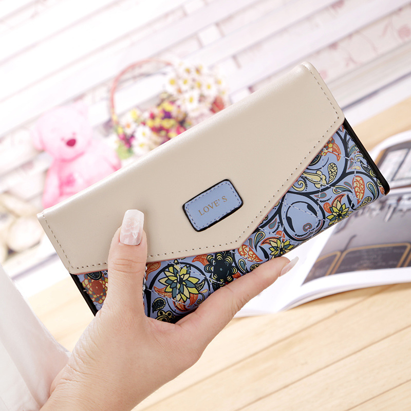 2020 Hot Fashion Women Wallets Flowers Printing PU Leather Long Wallets Portable Change Purse Delicate Casual Lady Cash Purse