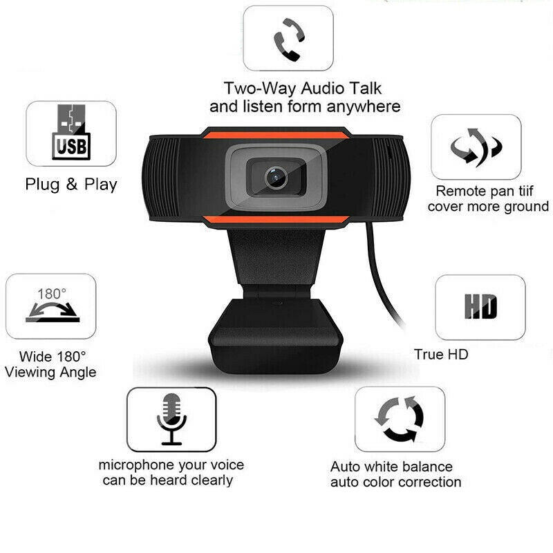 New HD Webcam Computer PC Camera With Microphone Rotatable Camera For Live Broadcast Video Calling Conference Work