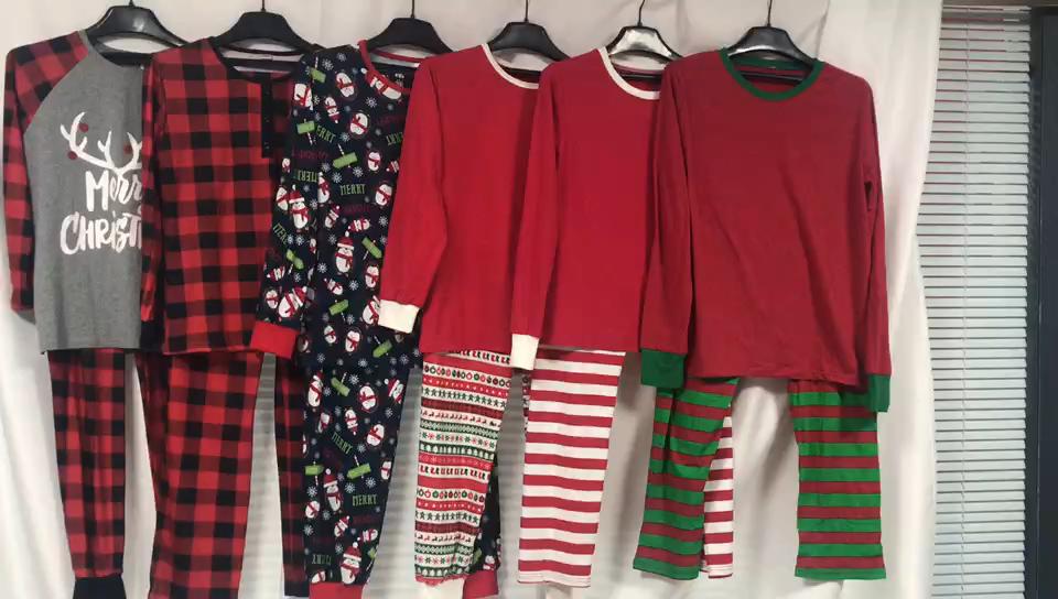 Yang Sesuai dengan Pjs Set Lengan Panjang Tee dan Merah Celana Kotak-kotak Pakaian Rumah Natal Keluarga Piyama