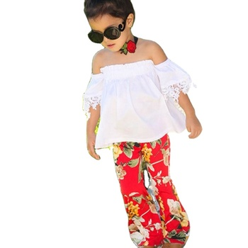 Bulk wholesale white boat neck fashion boutique clothes set girl 2020 kids fall clothing
