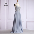 Grey Lace A-line Chiffon Bridesmaid Dress V-Neck Wedding Customized Maid of Honor Gowns Plus Size Party Dress