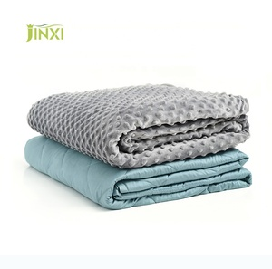 Wholesale blue bamboo fiber adult baby weighted blanket and gray minky dots cover duvet