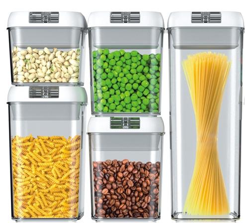 주방 사용 맞춤형 밀폐 플라스틱 건조 식품 저장 컨테이너 상자 5 Pcs