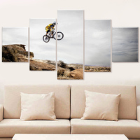 Home Decor Canvas Print Painting 5 Panel Bicycle Jump Mountain Picture Bike Sport Poster For Living Room Wall Art Decorative