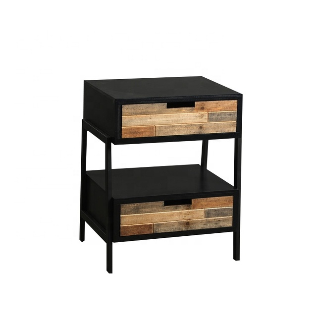 Mayco Modern Wood Metal Nightstand Side Table End Bedroom Bedside