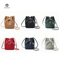 Wholesale PU leather 6 COLORS Shoulder Bags Designer Bucket Crossbody Bags mini basket shape with long shoulder strap bucket bag